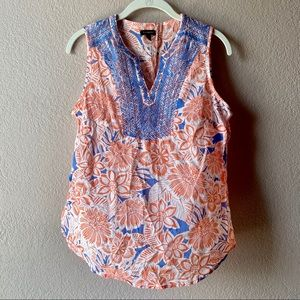 Talbots Cotton Embroidered Floral Tank Top Blouse